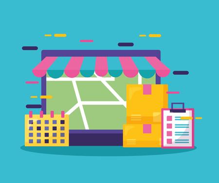 laptop calendar cardboard box map clipboard fast delivery business vector illustration Illustration