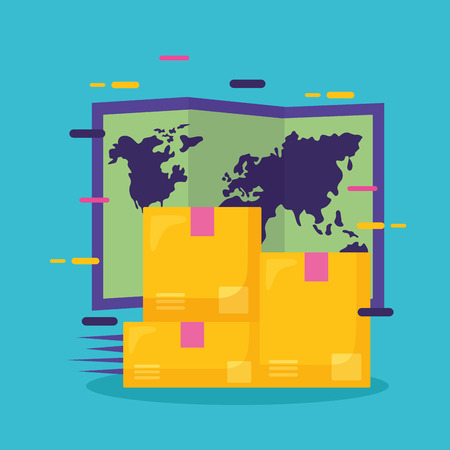 cardboard boxes world map fast delivery business vector illustration Vectores