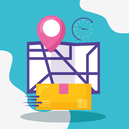 cardboard map location pointer fast delivery business vector illustration
