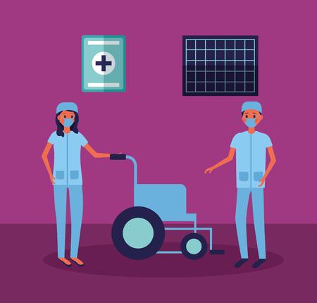 medical people staff nurse man woman wheelchair vector illustration