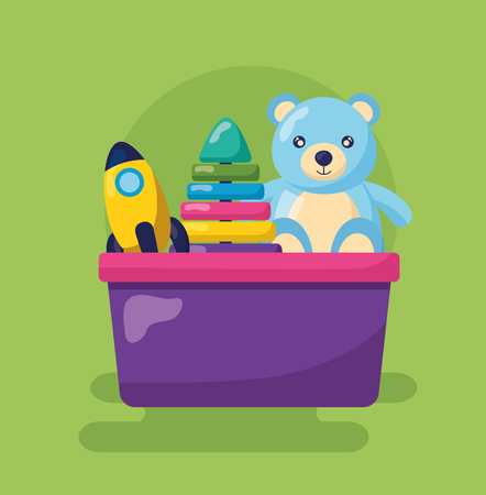 kids toys bear rocket and pyramid in bucket vector illustration