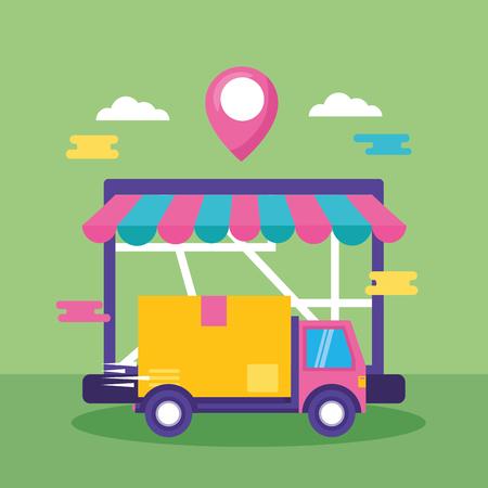 camión, computadora portátil, mapa, navegación, caja de cartón, entrega rápida, negocio, vector, ilustración