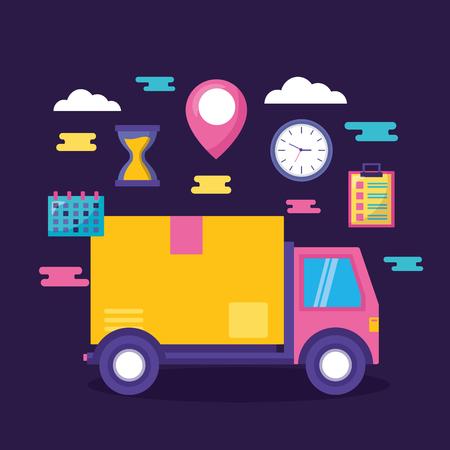 LKW Karton Uhr Kalender schnelle Lieferung Business Vector Illustration