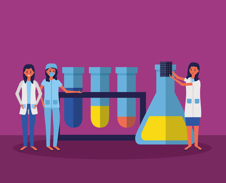 medical women staff with test tubes and x ray sample vector illustration Illustration