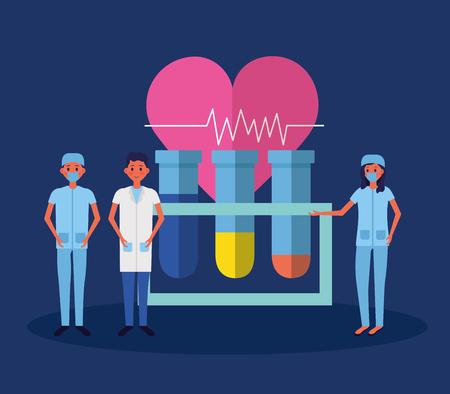 medical people staff laboratory test tubes heartbeat vector illustration Illustration