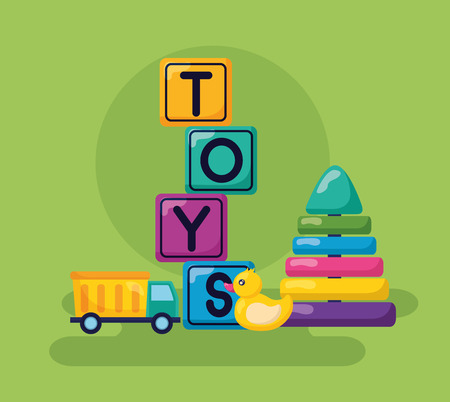 kids toys cubes duck pyramid truck vector illustration Illustration