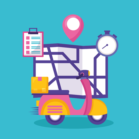 motorcycle box clock map fast delivery business vector illustration