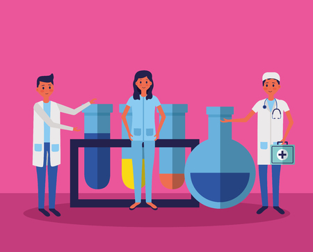 medical people staff with laboratory test tube samples vector illustration Stok Fotoğraf - 122764469