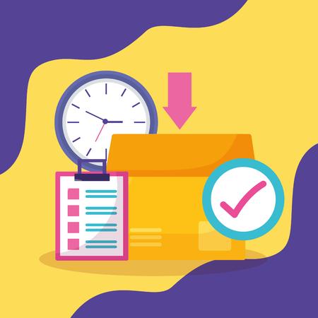 cardboard box clock check mark clipboard fast delivery business vector illustration