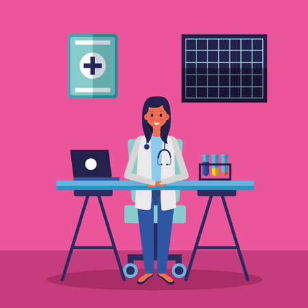 medical doctor in the office with laptop and test tubes vector illustration Çizim