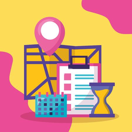 navigation map calendar clock fast delivery business vector illustration