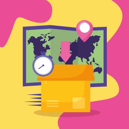 cardboard box map clock fast delivery business vector illustration Illustration