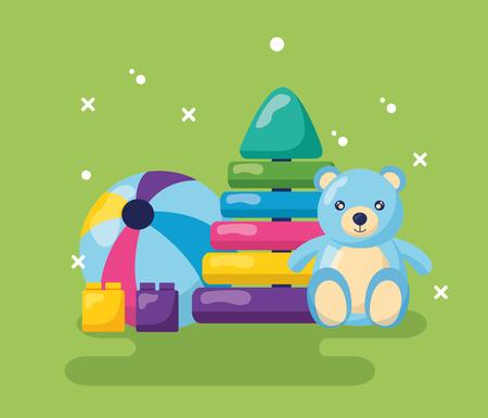 teddy pyramid rubber ball block kids toys vector illustration Illustration