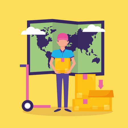 man with boxes map fast delivery vector illustration