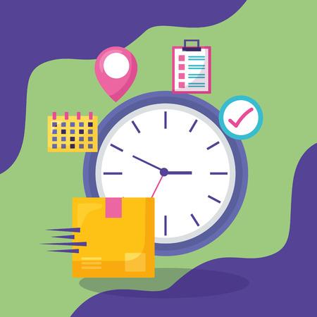 clock cardboard box calendar checkmark location pointer fast delivery business vector illustration Stock Illustratie
