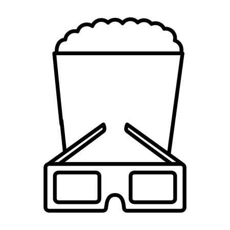 cinema glasses and popcorn isolated icon vector illustration design