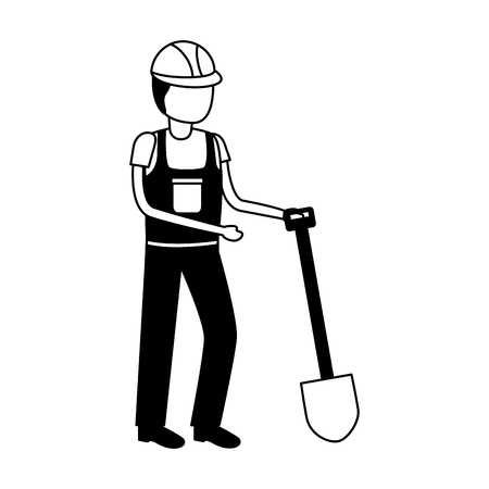 worker construction with shovel tool vector illustration Reklamní fotografie - 121872588