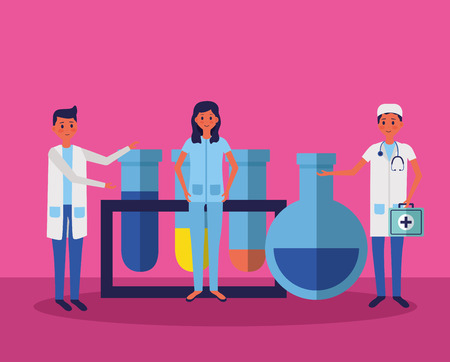 medical people staff with laboratory test tube samples vector illustration Foto de archivo - 122764527