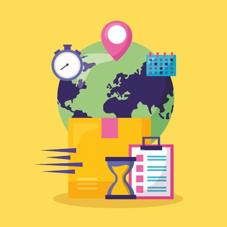 world calendar clock cardboard box fast delivery business vector illustration