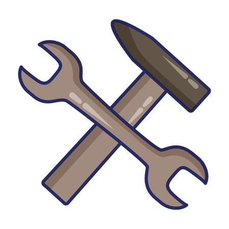 wrench hammer tools on white background vector illustration Standard-Bild - 122764562