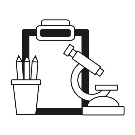 school microscope pencils clipboard supplies vector illustration design 向量圖像