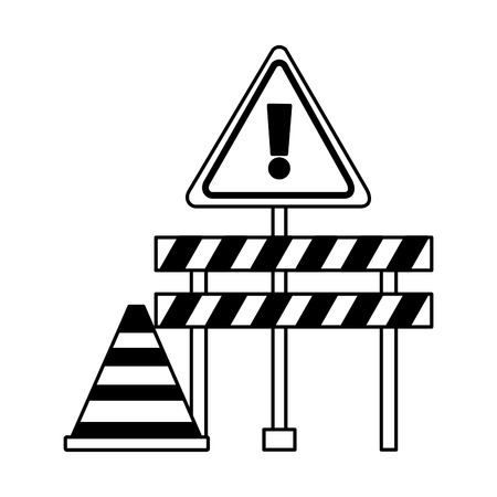 construction barricade warning sign cone vector illustration