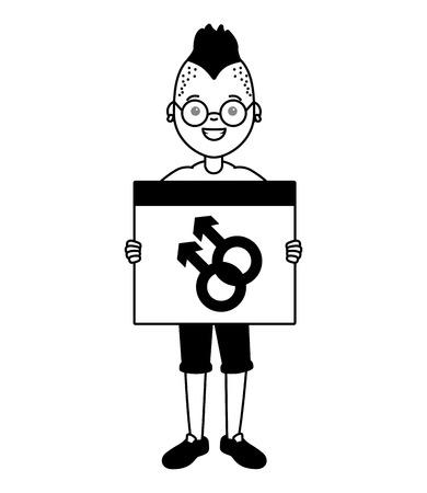 guy with placard gender sign lgbt pride vector illustration Illustration