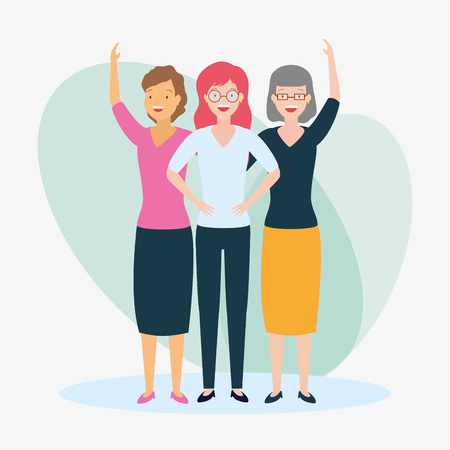 diversity woman three persons vector illustration design 向量圖像