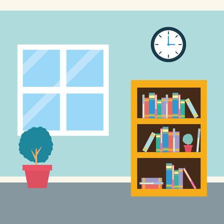 office workplace bookshelf clock plant window background vector illustration