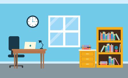 office workplace clock desk laptop chair bookshelf table background vector illustration