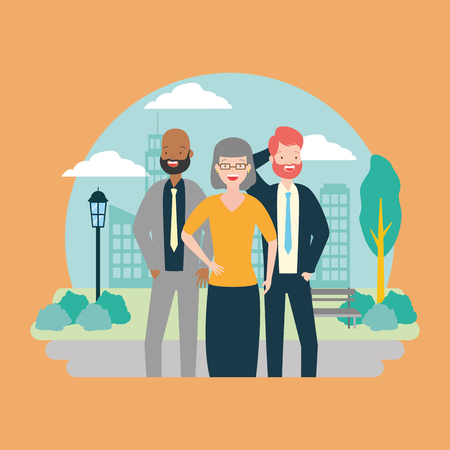 diversity man and woman characters cityscape park background vector illustration Ilustração