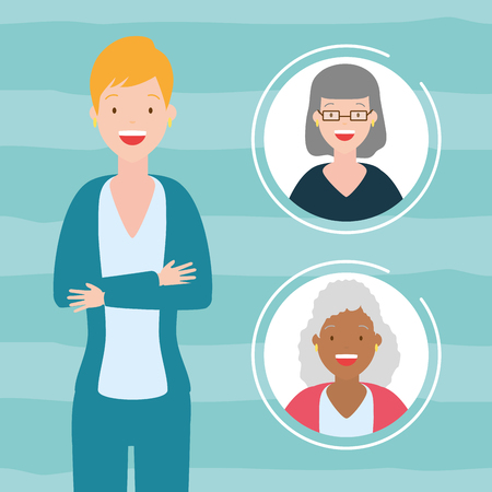 diversity woman people women portrait vector illustration design