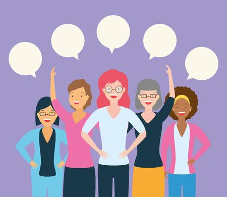 Groupe de femmes de la diversité parler des bulles de conception d'illustration vectorielle
