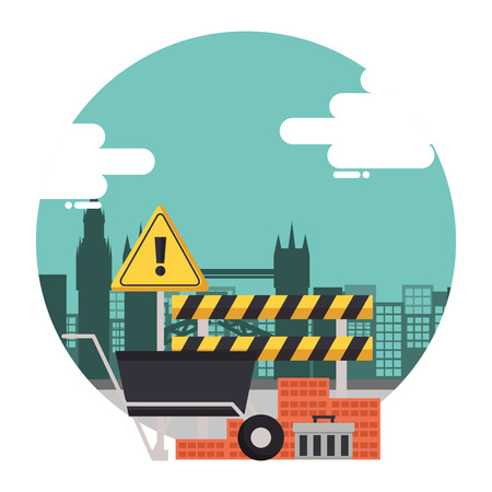 construction equipment wheelbarrow bricks barricade warning sign vector illustration Illusztráció