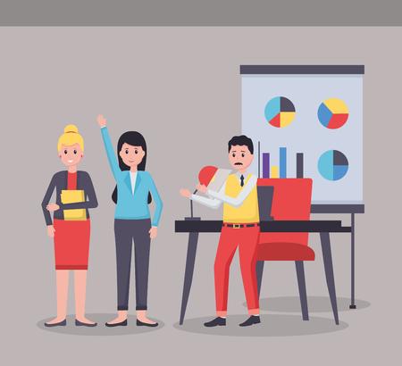 man and women laptop desk office workplace vector illustration Ilustrace
