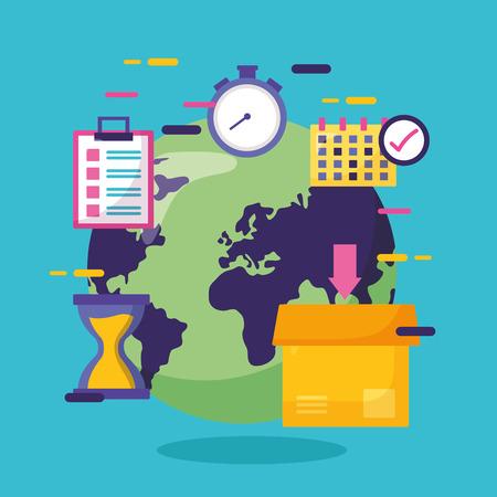 world clock box calendar fast delivery business vector illustration Illustration