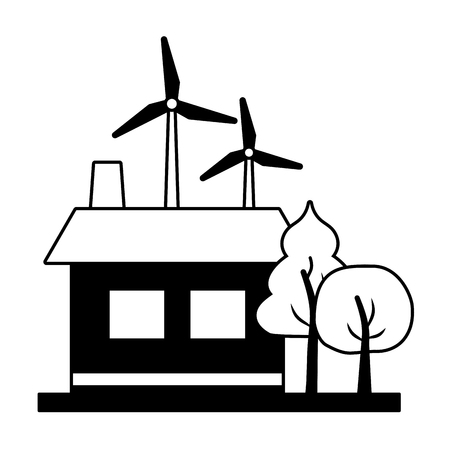 house wind turbines energy ecology vector illustration