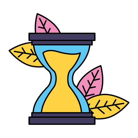 hourglass time clock leaves white background vector illustration