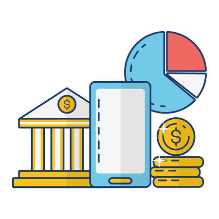 smartphone bank money report online payment vector illustration