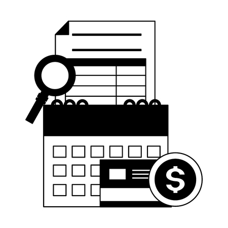 calendar report bank card money magnifier tax payment vector illustration Ilustração