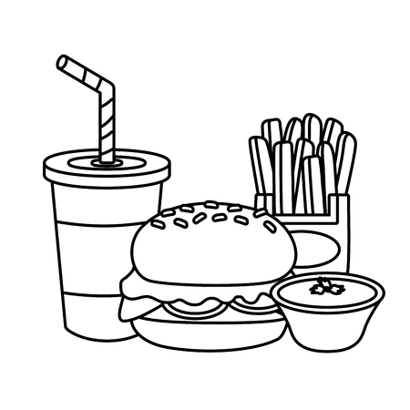 burger french fries soda sauce fast food vector illustration Illustration