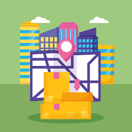 cardboard box map location city fast delivery vector illustration