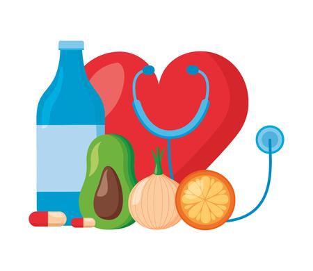 bottle water fruit medicine heart stethoscope world health day vector illustration Vectores
