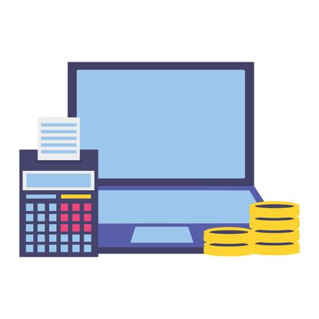 Ordinateur portable calculatrice pièces argent taxe paiement vector illustration