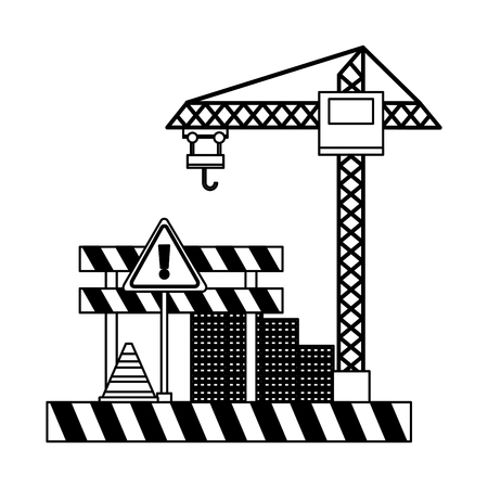 crane barrier wall bricks tool construction equipment vector illustration