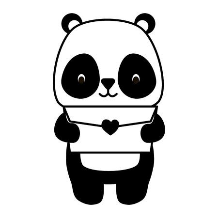 cute panda cartoon mail love vector illustration Standard-Bild - 122764763