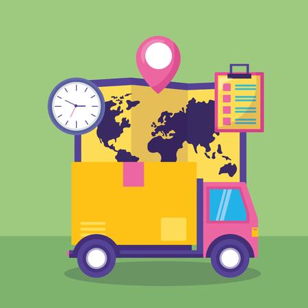 truck cardboard box map clock clipboard fast delivery vector illustration Illustration