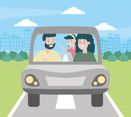 family dad mom and daughter in the car vector illustration design Standard-Bild - 122764787
