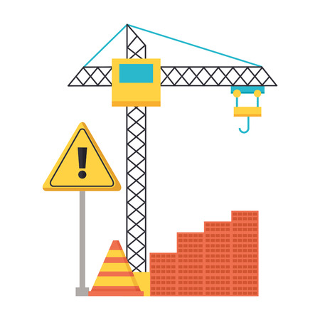 building barrier crane warning construction equipment vector illustration Ilustração