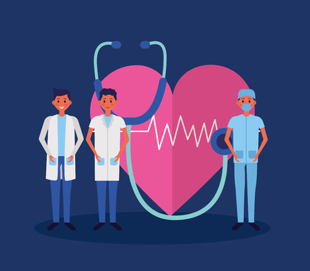 medical group men stethoscope and heartbeat vector illustration